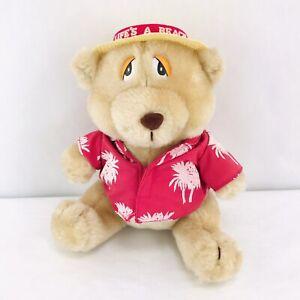Vintage Russ Luv Pets Bear Plush Lifes A Beach Pink Tropical Stuffed Animal Toy