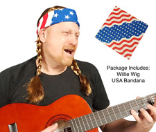 Willie Nelson Official Braided Wig Cowboy Country Costume with USA Bandana