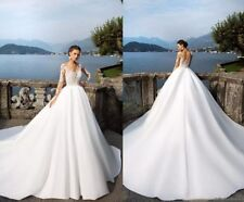 NEW Milla Nova Long Sleeve Wedding Dresses V Neck Lace Applique Ball Gown Beach