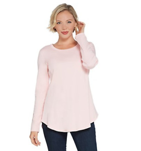 Isaac Mizrahi Live! Essentials Pima Cotton Seamed Knit Top - Pink Ice - XLarge