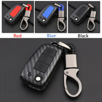 Carbon Fiber Shell+Silicone Cover Remote Key Holder Fob Case For Nissan Qashqai