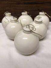 "6 Ball Ornaments 2 1/2"" Ceramic Glazed DIY Gift Box Included Free Priority Ship"