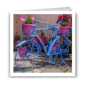 Blue Bicycle Greeting Card - Flowers