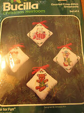 BUCILLA CHRISTMAS ORNAMENTS COUNTED CROSS STITCH KIT FOUR FOR FUN #48999 SET 4