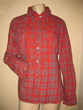 A CLASSIC!!  Vintage 70s 80s Pendleton Red Plaid Ruffled Blouse Shirt Top S/M