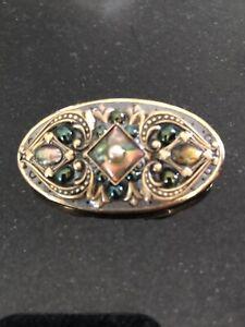 Vintage Michal Golan Pin Pendant Enamel Heart Abalone Cabochon Gold Tone Oval