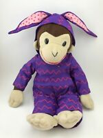Toy Network Curious George Monkey Wearing Purple Easter Bunny Costume Plush 15""