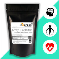 Nutrics® ACETYL L CARNITINE ALCAR Strong 630mg x 90 Vegan Capsules not tablets