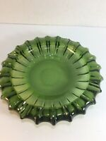 "Vintage 10"" Green Glass Round Cigar Cigarette Ashtray Dish Mid Century Modern"