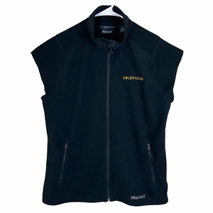 Marmot Polartec Full Zip Fleece Vest Men's Large Black Goldfinger Cut Off