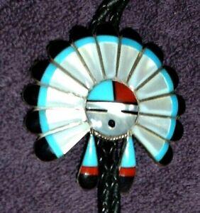 Zuni, Sun Face Head Dress, Multi-Stone Inlay  Sterling Silver Bolo Tie