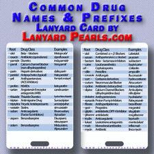 Drug + Medication Names - Prefixes + Suffixes - Medical Reference Card Havard's