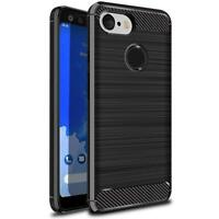 Google Pixel 3XL Carbon Fibre Brushed Gel Tough Case Cover Rugged Armour - BLACK