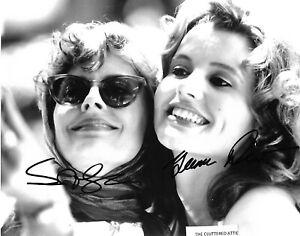 THELMA & LOUISE   GEENA DAVIS & SUSAN SARANDON .Dual Hand signed B&W 8x10 photo