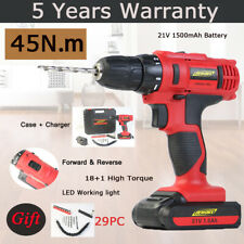 21V Cordless Drill Combi Screwdriver 18+1 Speed Li-ion Battery Forward & Reverse
