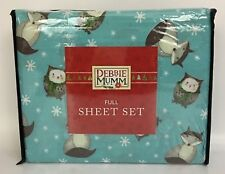 Debbie Mumm Full Size Blue Sheet Set Winter Holiday Owls Snowflakes Foxes