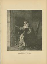 ANTIQUE VICTORIAN MOTHER SON CHILD FIRESIDE STORIES ARTIST E WOOD PERRY PRINT