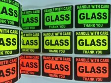 105 2x3 GLASS Handle with Care Label Sticker NEON FRAGILE GREEN RED YELLOW NEW