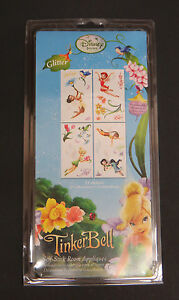 Disney Tinkerbell removable glitter self-stick room wall appliques 23 stickers