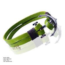 MEN Brown Leather Anchor Metal Surfer Multiwrap Bracelet Wristband GM098USA1