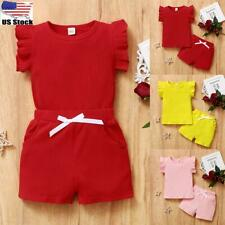 Toddler Baby Girls Solid Ruffled 2Pcs Tops + Shorts Cotton Outfits Clothes Set