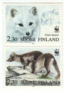 Finland Arctic Fox Red Fox Vulpecula WWF Pair Mint MNH Finland 1993
