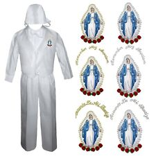 Baby Boy Baptism Christening Communion Pants Set Virgin Mary On Chest Sm to 4T