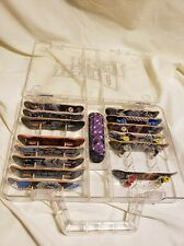 Lot of 15 Tech Deck Boards + clear carry case, spiderman, tony hawk, dark star..