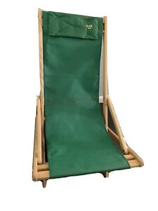 Vintage Byer Maine Lounger USA Beach Camping Lounging Portable Chair Wood Canvas
