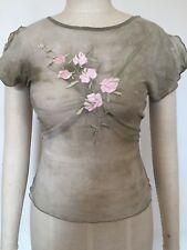 BNWOT Designer sharagano Made in France Net & Embroidered Tee, One Size