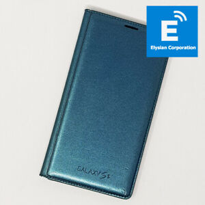 Original Samsung Galaxy S5 (G9000) - Flip Wallet Back Cover - Green - Fast P&P