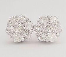 1.50 ct 14K White Gold Flower Cluster Round Cut Diamond Stud Earrings Rtl $4,500