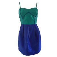 Portmans Noir Green Blue Mini Colourblock Dress Size 8 - New With Tags RRP $119