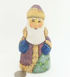 Father Christmas Santa RYABOVA signed Genuine Russian small HAND PAINTED FIGURE
