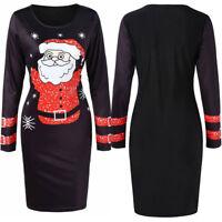 Fashion Women New O-Neck Long Sleeve Christmas Santa Claus Printed Bodycon Dress