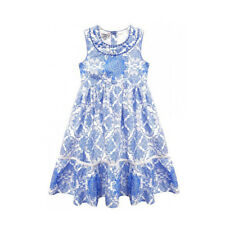Domino Girl's 100% Cotton Embellished Lace Trim Blue Summer Dress 3 to 11 Years