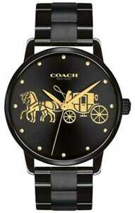 Coach Women's Grand Black IP Plated Case & Bracelet 14502925 Gold Watch