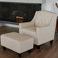 Canberra Beige Linen ArmChair & Footstool Set Lounge Arm Tub Chair Sofa