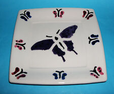 Studio Art Pottery - Attractive Square 'Butterfly Design' Display Plate (Signed)