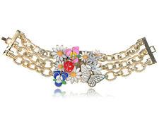 Tono Oro Esmalte Rhinestone Mariposa Flor Ladybug Colorido Cadena Pulsera