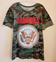 Official RAMONES Green Camouflage Mens Tour T-Shirt Primark  BNWT