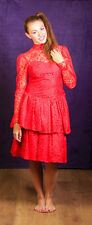 80s vintage red lace prom dress rara 80s red Bridesmaid dress