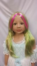 """Nwt Monique Jade Pink/Green Doll Wig 19 1/2"""" fits Masterpiece Doll(Wig Only)"""