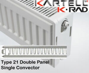 Kartell K-Rad Double Panel Type 21 Compact Radiator 750mm High- various widths