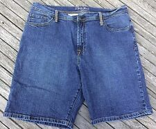Lena Jeans Denim Shorts 16 Dark Wash 5 Pocket Style Stitching on Back Pockets