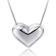 925 Sterling Silver Pretty Heart Charm Pendant Chain Necklace Womens Jewellery
