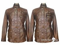 Mens Leather Jacket Quilted Panther Vintage Motorbike Field Military Belt Gents