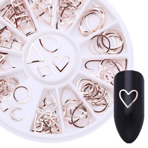Geometry Round Heart 3D Nail Art Decoration In Wheel Square Rivets  Tips