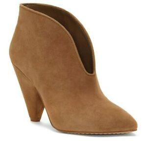 Women Vince Camuto Mitsen Suede Cone Heel Bootie, Multi Sizes True House VC-MITS