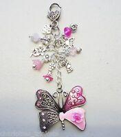 Pink  Rhinestone  Butterfly  Crystal Keyring or Bag Charm - Handmade